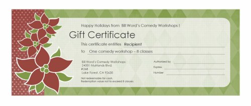 Buy Comedy Workshop Gift Certificate